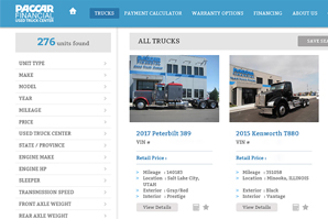 Used Truck Website Search Screen